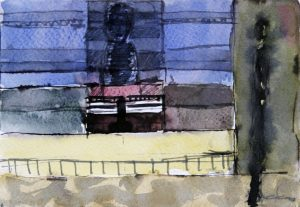 Balcon Ouvert - 12 x 18 cm, Aquarelle sur papier