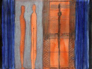 Conversation - 18 x 24 cm, Aquarelle et encre sur papier